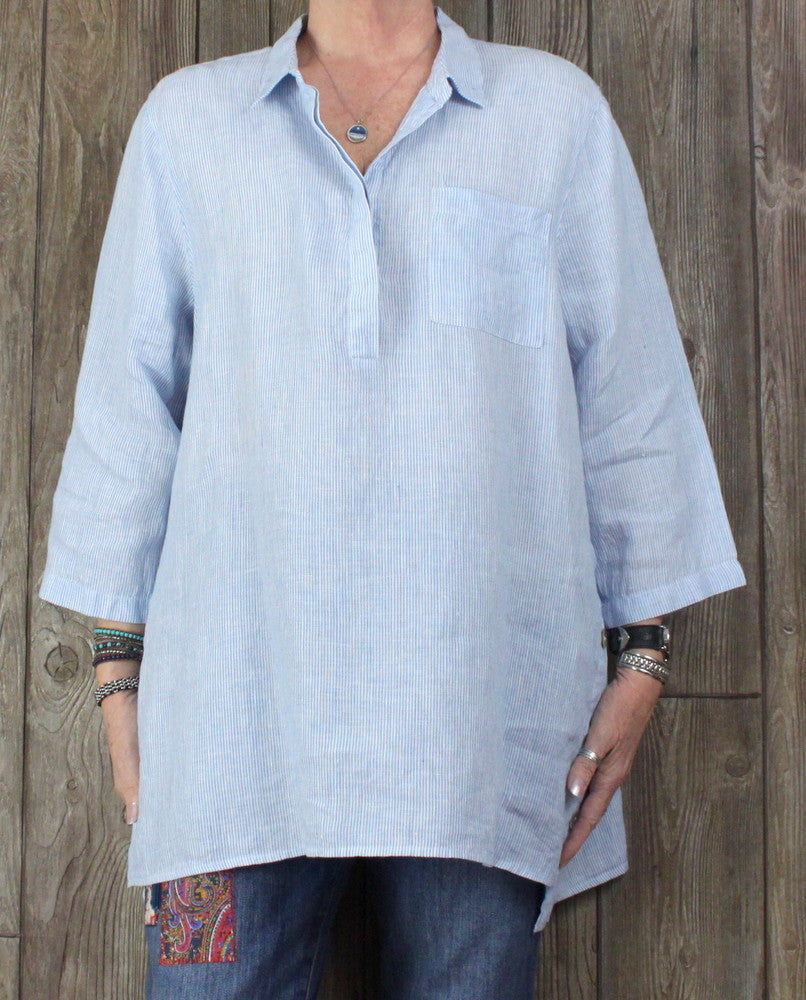 Nice J Jill XL size Love Linen Blouse Blue White Womens Tunic Top Spring Summer