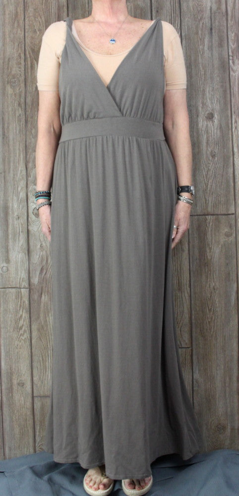 Garnet Hill Maxi Dress XL 1x size Taupe Brown Stretch Womens Tank