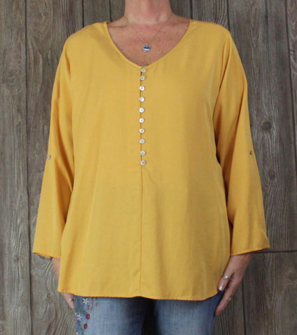 New Soft Surroundings XL sz Blouse Sunflower Gold Yellow