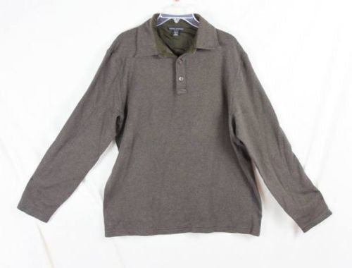 Banana Republic L sz Mens Brown Soft Shirt Medium Weight Patch Elbow Ski Warm - Jamies Closet