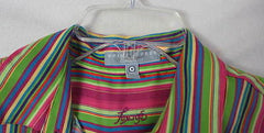 Foxcroft Blouse 10 M  Multi colored Wrinkle Free Classic Stripe Work Shirt - Jamies Closet - 3