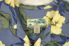 Mens size L Blue Yellow Rayon Havana Jacks  Hawaiian Shirt Aloha Party Summer - Jamies Closet - 2