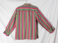 Foxcroft Blouse 10 M  Multi colored Wrinkle Free Classic Stripe Work Shirt - Jamies Closet - 4