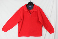 J Crew Fleece L size 1.4 zip Sweater Mens Red Soft Easy Wear Pull On Jacket - Jamies Closet - 2