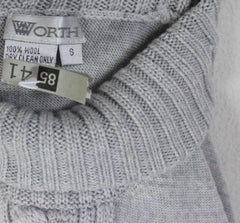 Worth Sweater S size Light Gray Wool Turtleneck Womens Soft Raised Cable Accent - Jamies Closet - 4