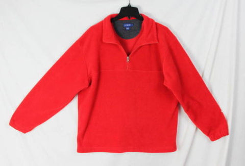 J Crew Fleece L size 1.4 zip Sweater Mens Red Soft Easy Wear Pull On Jacket - Jamies Closet - 1