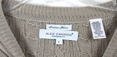 Alex Cannon L size Mens Beige Cable Sweater Soft Merino Blend Lightweight Wool - Jamies Closet - 3