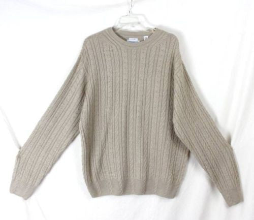 Alex Cannon L size Mens Beige Cable Sweater Soft Merino Blend Lightweight Wool - Jamies Closet - 1