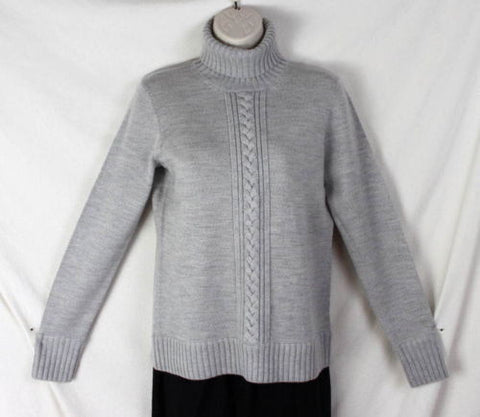 Worth Sweater S size Light Gray Wool Turtleneck Womens Soft Raised Cable Accent - Jamies Closet - 1