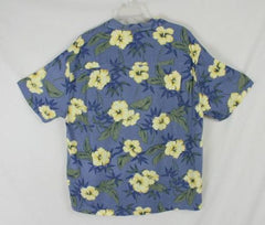 Mens size L Blue Yellow Rayon Havana Jacks  Hawaiian Shirt Aloha Party Summer - Jamies Closet - 4