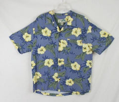 Mens size L Blue Yellow Rayon Havana Jacks  Hawaiian Shirt Aloha Party Summer - Jamies Closet - 1