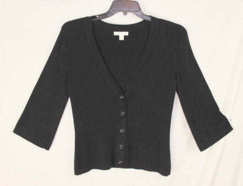 Coldwater Creek Sweater S 6 8 size Black Button Front Vneck Top Work Play Shirt - Jamies Closet - 1