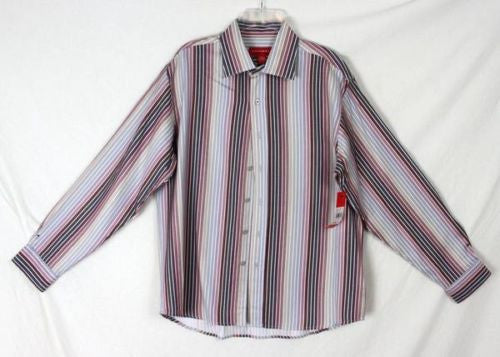 Mens Emanuel Ungaro Shirt size L New Soft Multi Color Stripe Long Sleeve Work - Jamies Closet - 1