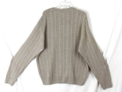 Alex Cannon L size Mens Beige Cable Sweater Soft Merino Blend Lightweight Wool - Jamies Closet - 4
