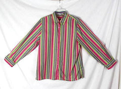 Foxcroft Blouse 10 M  Multi colored Wrinkle Free Classic Stripe Work Shirt - Jamies Closet - 2
