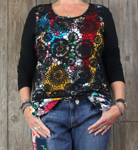 Cute Adore L size Top Crochet Over Multi Color Floral Stretch Blouse