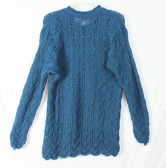 Nice Baby Alpaca Sweater L XL size Aqua Blue Open Crochet Knit Womens Peruvian Tunic - Jamies Closet - 7