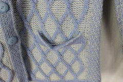 Aran crafts Cardigan Sweater M L size Light Blue White Womens Textured Cable Wool - Jamies Closet - 4