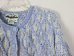 Aran crafts Cardigan Sweater M L size Light Blue White Womens Textured Cable Wool - Jamies Closet - 5
