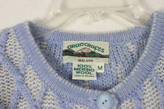 Aran crafts Cardigan Sweater M L size Light Blue White Womens Textured Cable Wool - Jamies Closet - 6