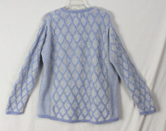 Aran crafts Cardigan Sweater M L size Light Blue White Womens Textured Cable Wool - Jamies Closet - 7
