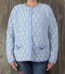Aran crafts Cardigan Sweater M L size Light Blue White Womens Textured Cable Wool - Jamies Closet - 2