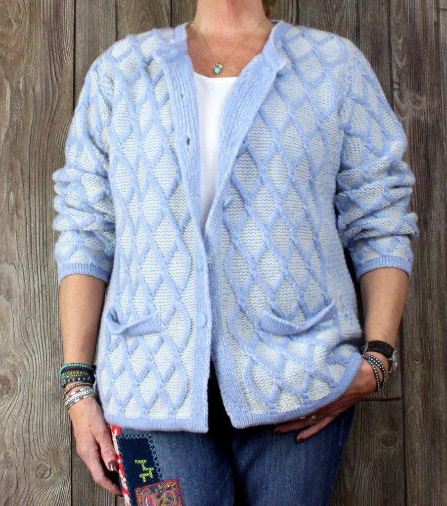 Aran crafts Cardigan Sweater M L size Light Blue White Womens Textured Cable Wool - Jamies Closet - 1