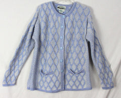Aran crafts Cardigan Sweater M L size Light Blue White Womens Textured Cable Wool - Jamies Closet - 3
