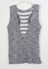 Cute Athleta L size Tank Top Gray Black Layered Racer Back Womens Lightweight Tunic
