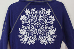 Cute Athleta Cardigan Sweater M size Blue White Heavy Fitted Floral Womens Zip Front