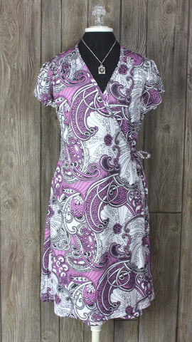 Cute Athleta True Wrap Dress M size Pink Plum Paisley Floral Stretch Womens