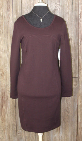 Nice New Athleta Dress M size Plum Brown Illusion Fitted Stretch