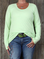 Nice Athleta Top XL size Lime Green Soft Stretch Fabric and Thumb Holes