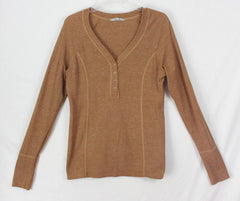 Athleta L size Top Brown Thermal Henley Womens Snap Vneck Fitted Shirt