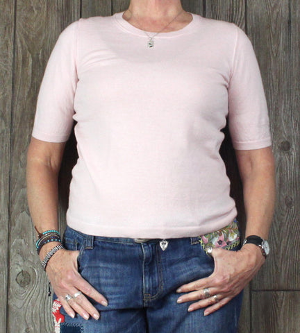 Cute Banana Republic L size Pink Merino Wool Sweater Short Sleeve Womens Light Top