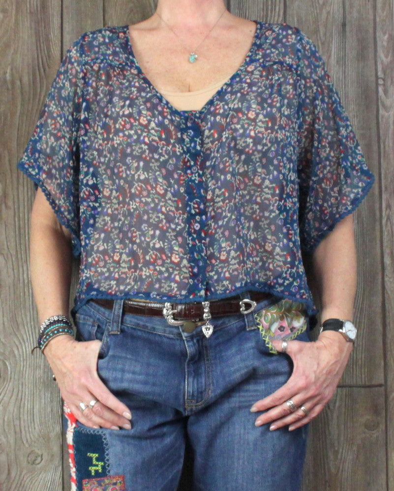 Cute band of gypsies Blouse L size size Sheer Blue Multi Color Floral Boho Hippy Top