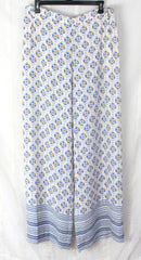 Cute BCBG Maxazria L size Pants New Long Lightweight Off White Blue JOAN Wide Leg 198.00 - Jamies Closet - 1
