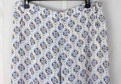 Cute BCBG Maxazria L size Pants New Long Lightweight Off White Blue JOAN Wide Leg 198.00 - Jamies Closet - 4