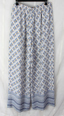 Cute BCBG Maxazria L size Pants New Long Lightweight Off White Blue JOAN Wide Leg 198.00 - Jamies Closet - 5