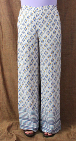 Cute BCBG Maxazria L size Pants New Long Lightweight Off White Blue JOAN Wide Leg 198.00 - Jamies Closet - 10