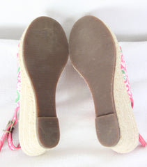 Cute LL Bean Womens 7 Size Peep Open Toe Pink Green Wedge Heel Shoes Beach Theme