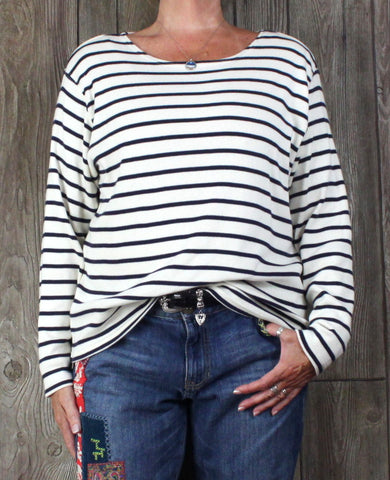 Nice LL Bean XL size Blouse Navy Blue Ivory Stripe Top Womens Cotton