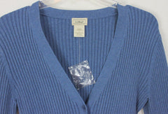 Nice LL Bean New L size Blue Cardigan Sweater Womens Fitted Stretch All Season Blend