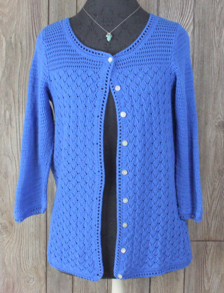 LL Bean M size Cardigan Sweater Womens Open Crochet Linen Cotton Casual Light