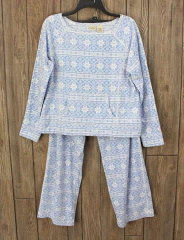 Cute LL Bean LP size Fleece PJs Lounge Outfit Blue White Snowflake Womens Soft Set