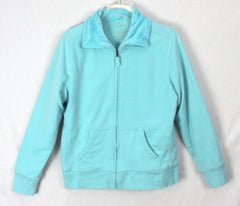 Nice LL Bean L size Light Blue Zip Sweatshirt Faux Fur Lined Womens Casual Jacket