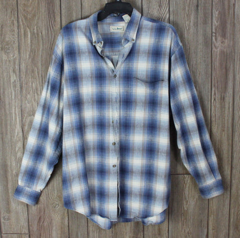 LL Bean L size Mens Shirt Button Down Linen Cotton Blue Gray Plaid