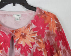 Pretty LL Bean Cardigan Sweater L size Pink Orange Floral Cotton