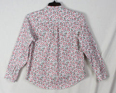 Nice LL Bean Floral Blouse M Petite MP size White Pink Red Green Top Womens Cotton