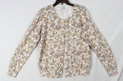 Nice LL Bean Cardigan Sweater Beige Blue Floral Womens Stretch Cotton Casual Work